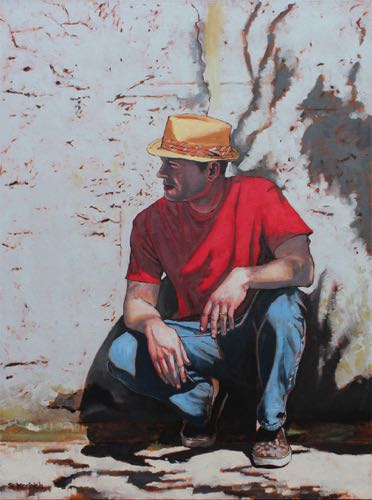 Red Shirt (Self Portrait of Artist) Oil on Canvas 30x40