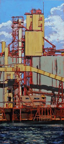 Industrial River Oil on Canvas 16x36