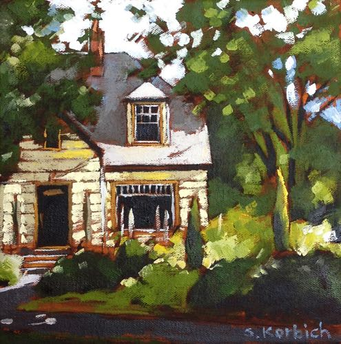 Yellow House Oil on Canvas 8x8 2015