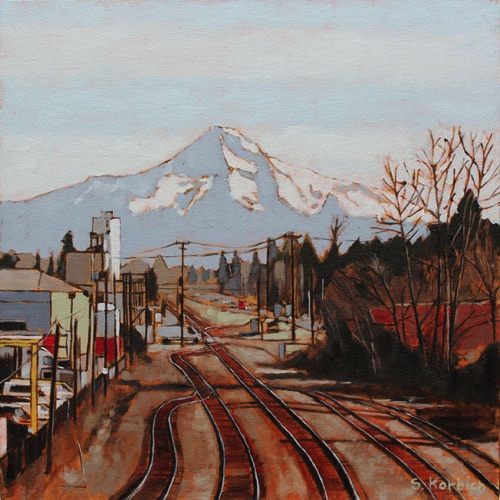 Mt Hood Rails Oil on Canvas 18x18  SOLD