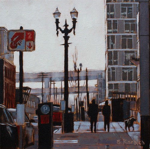 Pearl District Haze Oil on Canvas 12x12  SOLD