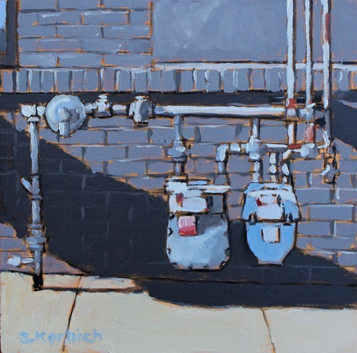 Gas Meters Oil on MDF 6x6  SOLD