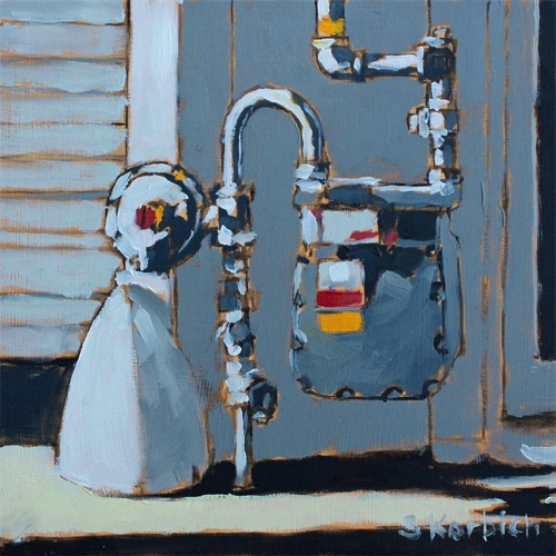 Gas Meter Oil on MDF 6x6  SOLD