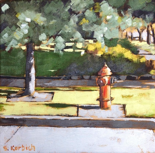 hydrant and tree Oil on Canvas 8x8  SOLD