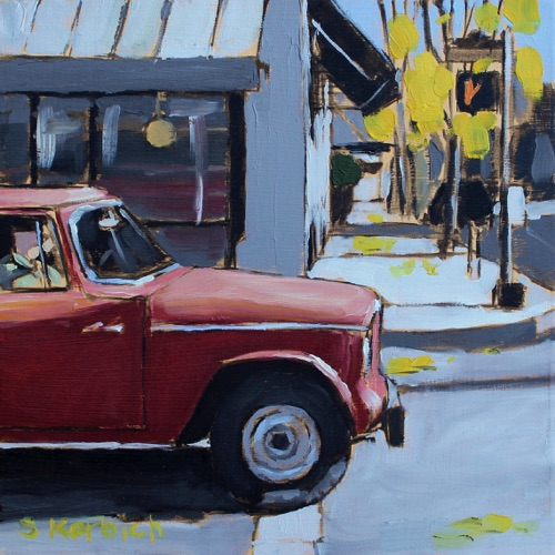 red pickup Oil on MDF 6x6  SOLD